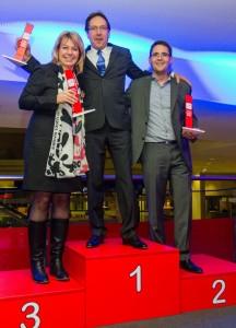 Die Preisträger v.l. Alexandra Novosell (Hasbro), Uwe Weiler (Simba Dickie) undMichael Kehlet (LEGO).